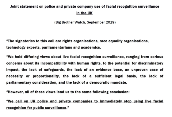Joint Statement on Big Brother Watch Website
